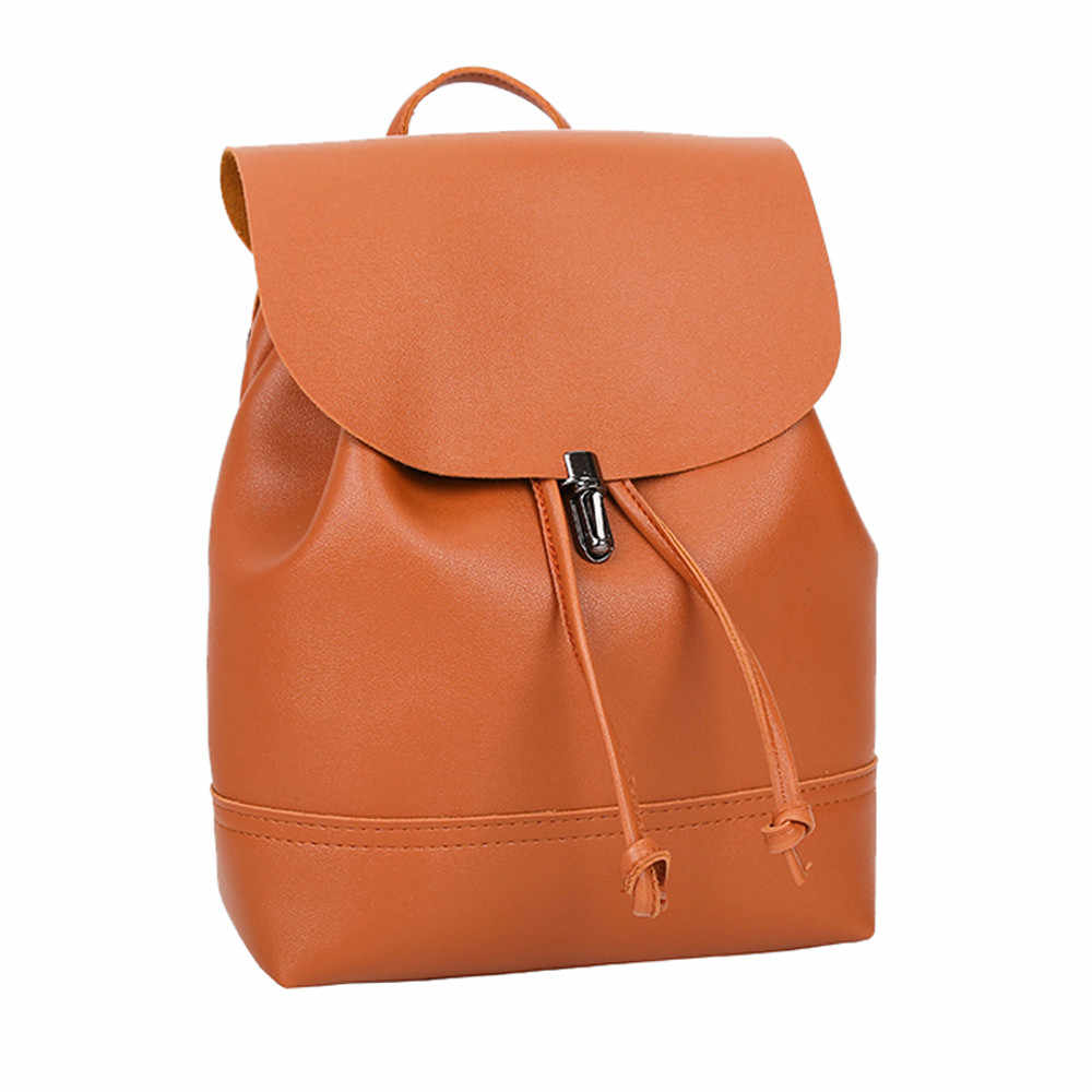 c6153640b7 Detail Feedback Questions about CONEED Vintage Pure Color Leather School  Bag Backpack Satchel Women Trave Shoulder Bag Solid Hasp Women Backpack No5  on ...