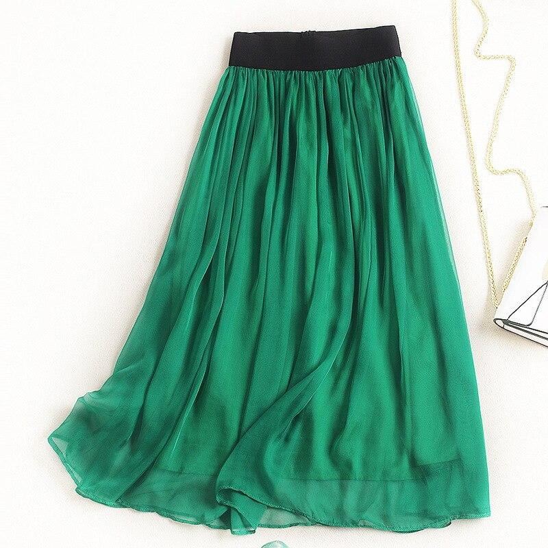Women fashion elegant silk chiffon long skirt elastic waist pleated solid color ankle length skirts new 2018 summer green blue