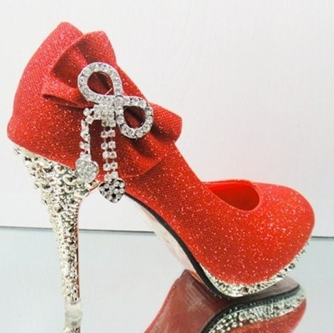 New Style Fashion 2013 Womens Silver Red Gold Glitter Flower Crystal  Wedding Evening Prom Dress Metallic HIgh Heels Shoe Red-in Women s Pumps  from Shoes on ... e2b3da089f5f