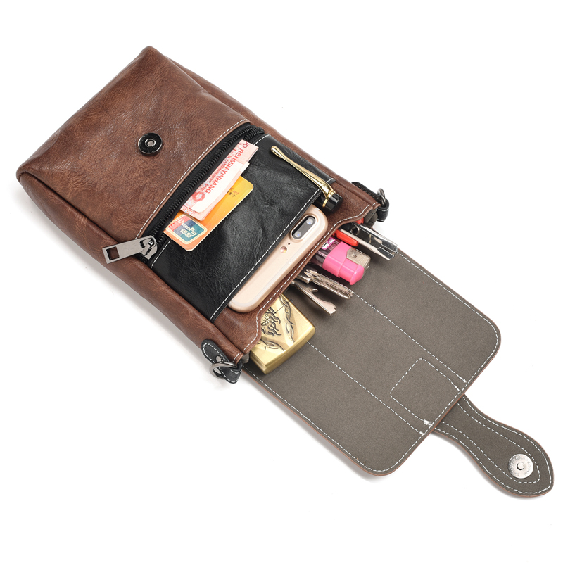 Universal Phone Waist Bag Case Shoulder Bag Cover Pouch for Apple iPhone7 8 XR Multi Zipper Wallet Flip Leather Case for XS Max in Phone Pouches from Cellphones Telecommunications