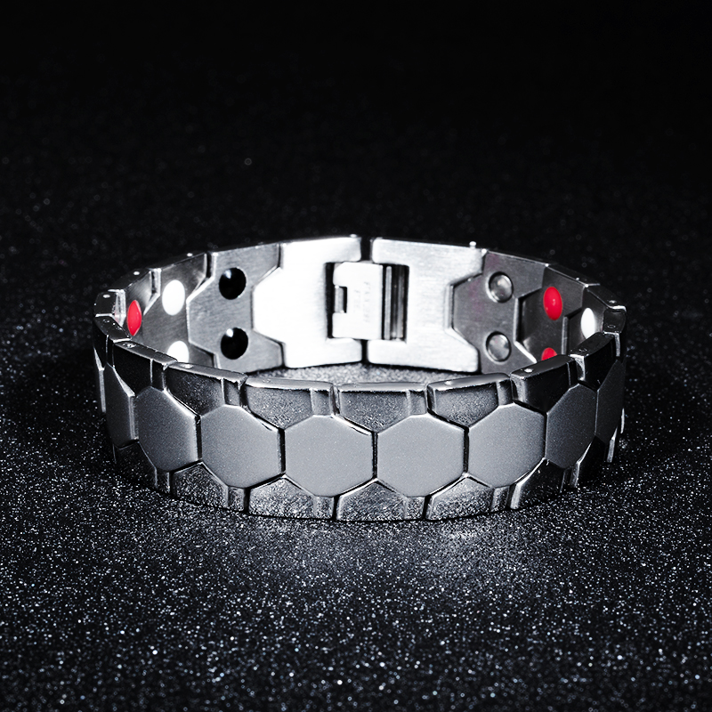 7SEAS Energy Magnet Health Titanium Bracelets Magnetic Therapy Bangles Men Jewelry 7S002