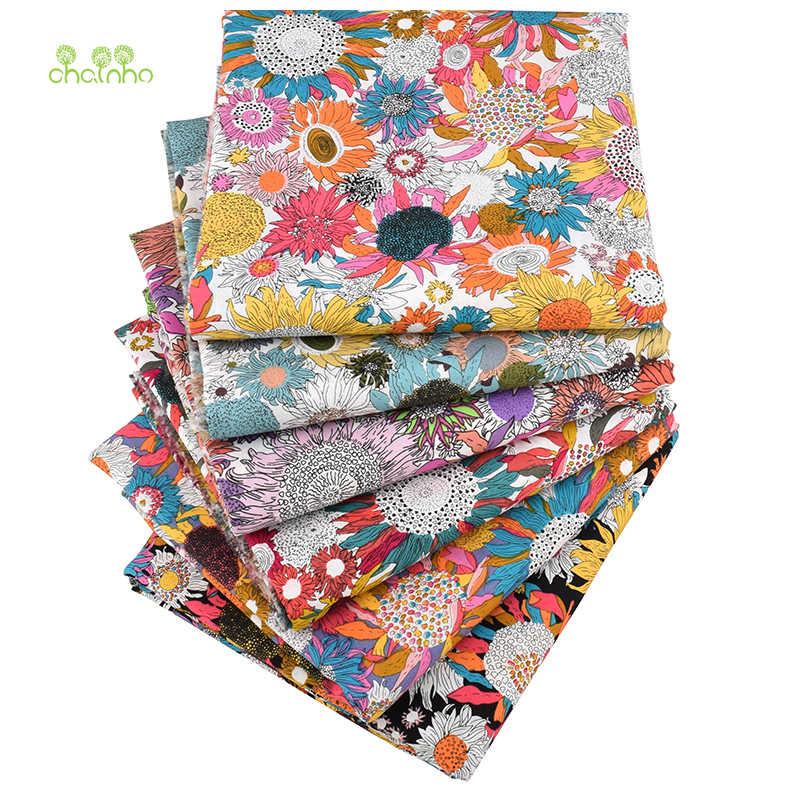 Chainho, 6 шт./партия, Лоскутная Ткань с цветочным принтом, простая хлопковая ткань, поплин для шитья и стеганого шитья для малышей и детей