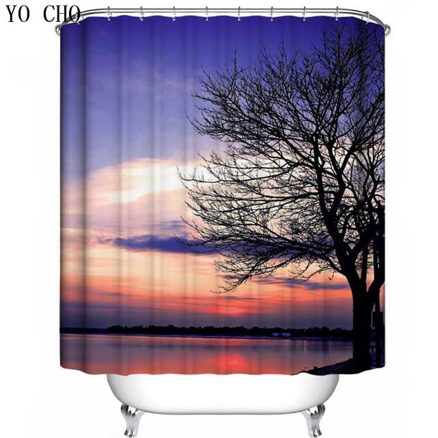 YO CHO Curtain Bath Scenery Shower Curtains Funny Bathroom Nature