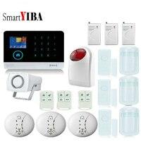 SmartYIBA APP Control Wireless Home Security WIFI GSM GPRS Alarm System With Smoke Fire Door Window Shock Sensor Strobe Siren