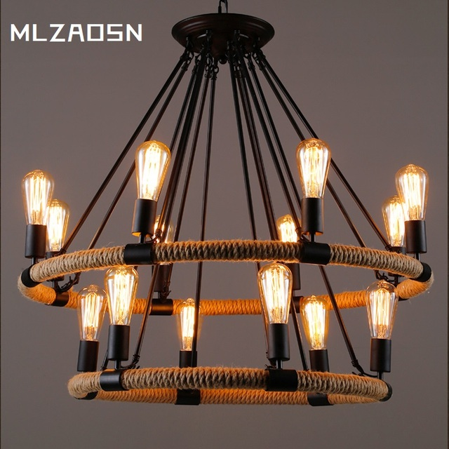 Style Pendant Light Personality Art Old Bar Clothing Cafe Retro Iron Hemp Rope Pendent
