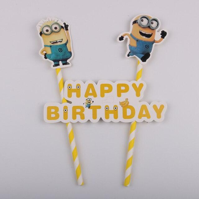 Ensemble garniture de cupcakes 1 unité   Drapeau de gâteau à thème joyeux anniversaire pour enfants, décorations de pâtisserie pour fête danniversaire