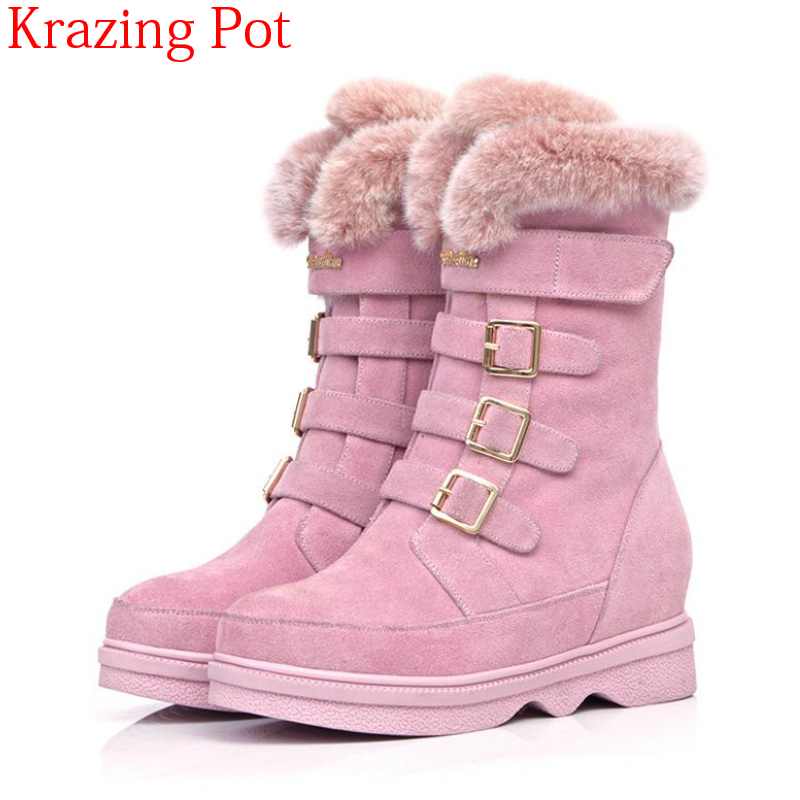 2018 Superstar Cow Suede Fur Round Toe Pink Keep Warm Wool Luxury Snow Boots Buckle Strap Thick Bottom Women Mid-calf Boots L87 2018 superstar cow suede platform round toe high heels snow boots keep warm winter shoes wedge zipper women mid calf boots l95