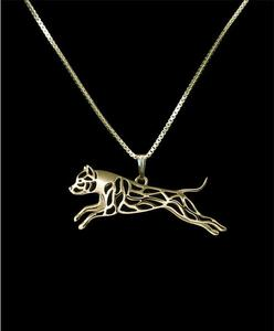 Unique Handmade Boho Chic Leaping American Staffordshire Terrier / Pitbull running Necklace Pet Lovers Gift Jewelry Necklace