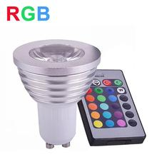 RGB LED Lamp Spotlight 4W GU10 LED RGB Light 85-265V LED Bulb High Power 16 Color Change With IR Remote Controller Home Decorate