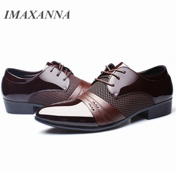 IMAXANNA Men Leather Shoes Business Flat Black Brown Breathable Summer Autumn Dress Shoes Plus Size 38-48 1