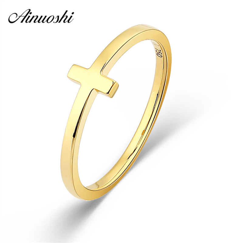 AINUOSHI Genuine 18K Gold Ring Rose Gold Yellow Gold Cross Shaped Ring AU750 Fine Wedding Brand Women Trendy Party Engagement 18k gold ring pair ring lovers couple simple and elegant male female solid au750 wedding engagement hot sale new trendy size7 18