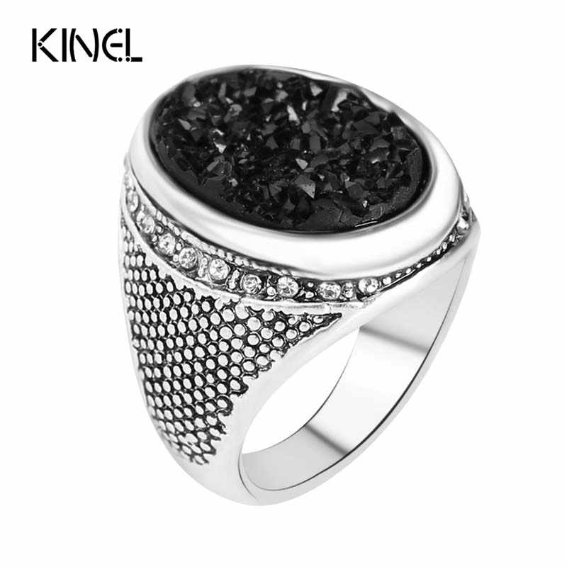 Rushed 2015 Fashion Black Rings With Stones Plated Silver Jewelry Oval Punk Rock Wedding Band Ring For Women