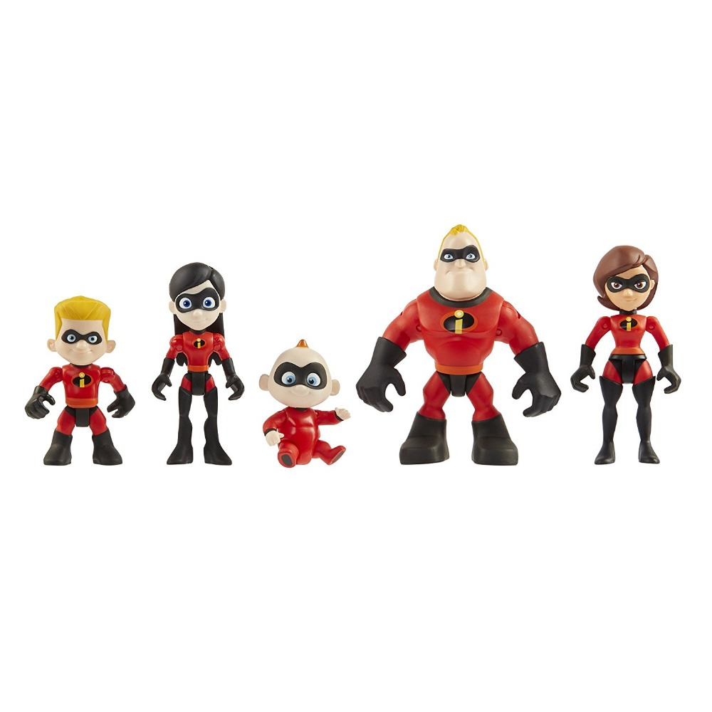 Incredibles 2 Mr.Incredible Bob Parr Elasti Girl Model toy Figure Decoration doll Gift 5pcs/ set Junior Supers Family Pack
