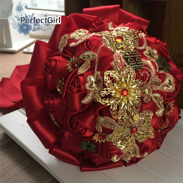 Chinoiserie Customized Bridal Wedding hand Bouquet mariage Silk Roses,Romantic Wedding Colorful Bride 's Bouquet ramos de novia