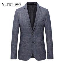 YUNCLOS, осенний мужской костюм, Блейзер, Классический Клетчатый приталенный мужской пиджак, высокое качество, повседневный мужской блейзер, спортивные пиджаки для выпускного
