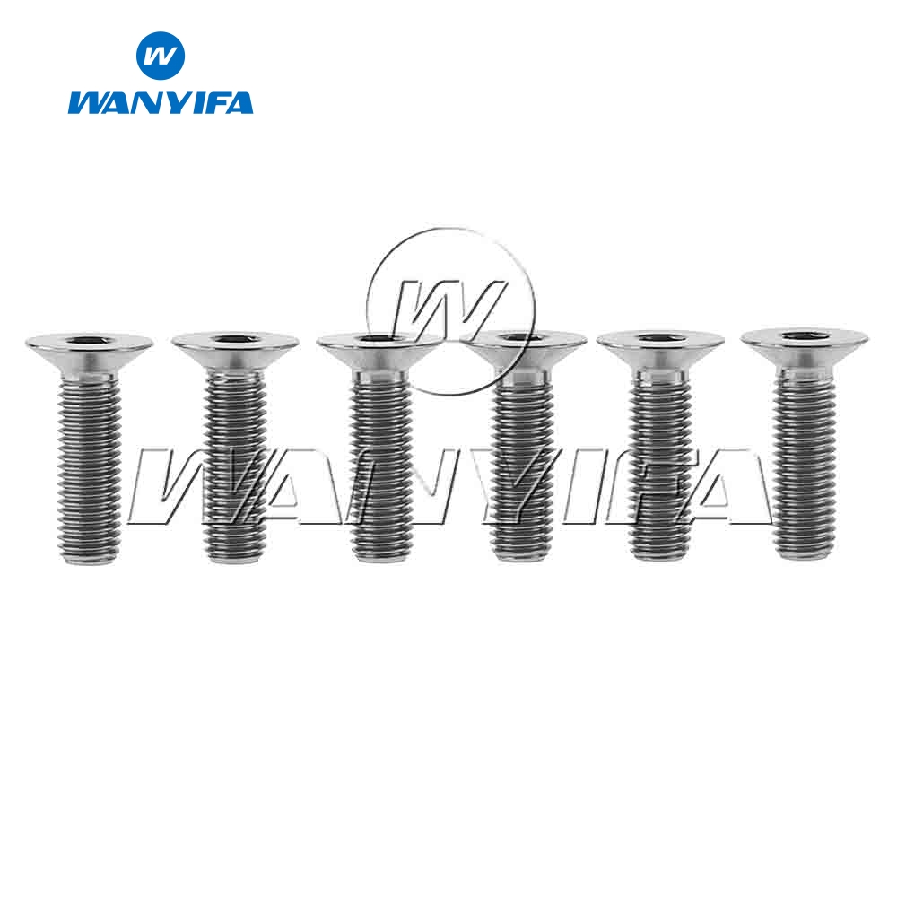 Wanyifa <font><b>M6x20mm</b></font> M6x25mm <font><b>Titanium</b></font> Flat Countersunk Head inner Hexagon Screw Bolt for Bicycle Headset Crank 6pcs image