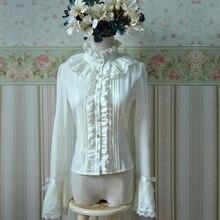 ยุโรปยุควินเทจสไตล์โลลิต้าหวานเสื้อชีฟองลูกไม้หญิงโลลิต้าBlusas Femininasเสื้อ