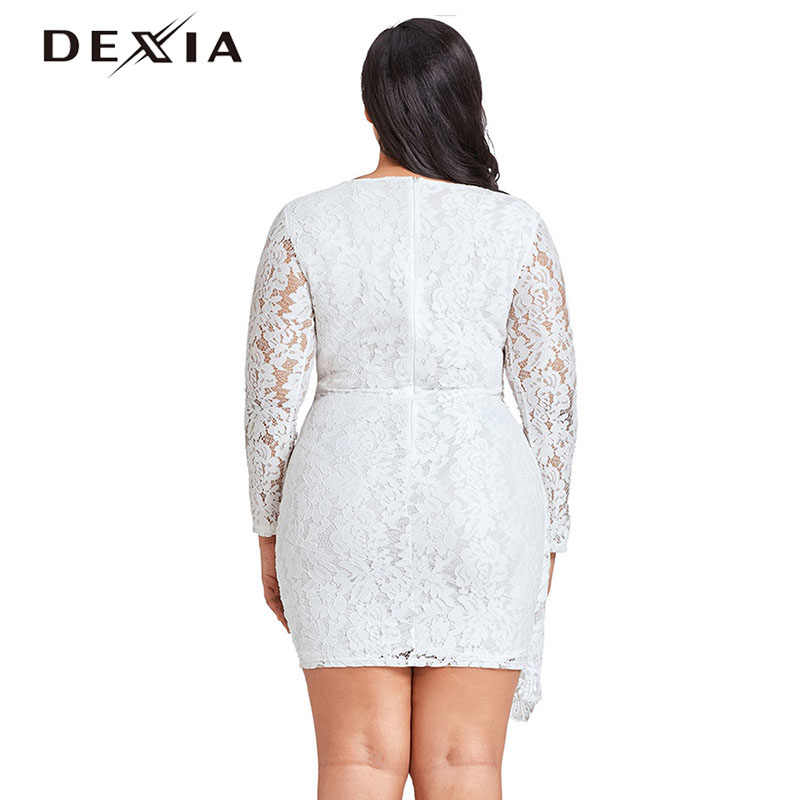 ac39778e9c0 ... DEXIA Sexy Lace Summer Dress Large Size Women V Neck Long Sleeve Hollow  Out Plus Size ...