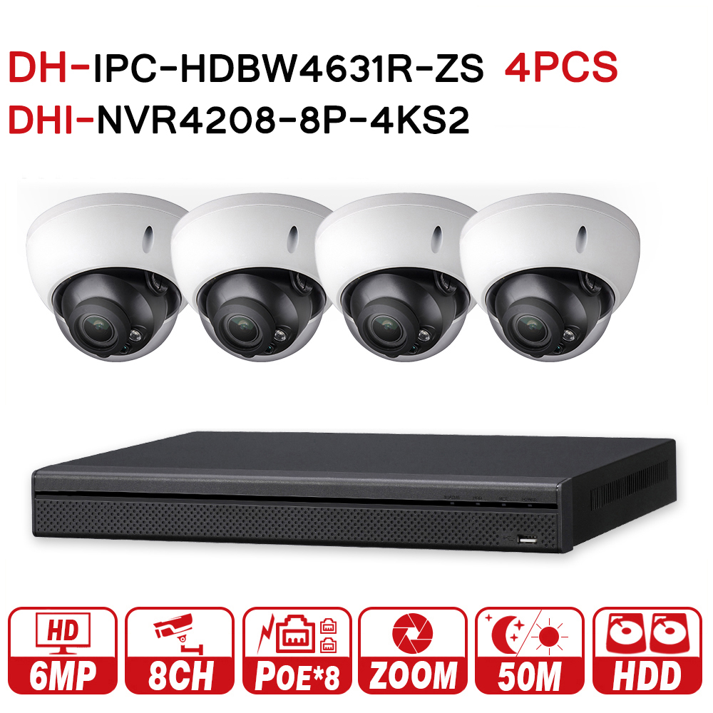 DH 6MP 8 4 Security CCTV System 4Pcs 6MP POE Zoom IP Camera IPC HDBW4631R ZS