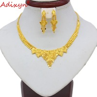 Adixyn 40cm/15.7inch Necklace&Earrings Jewelry Set for Women Gold Color /Copper Exquisite Jewelry India Party Gifts N092312