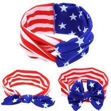 Kids American Stars Stripes Flag Headband National Day Bow Hair Band scrunchy Headwear Bezel Hair Accessories EASOV W214