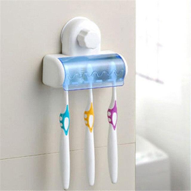 New 5 Set Home Bathroom Toothbrush Suction Holder Stand Rack Bracket Plastic Amenities