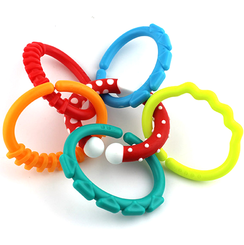 rainbow beads chewable ring grade in teething bracelet toy kids silicone mother rings food chew bpa from free gift teethers natural item shower teether on baby