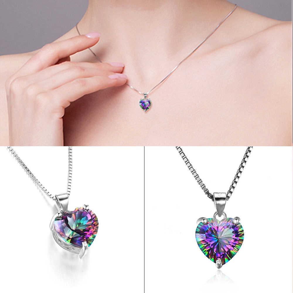 Rainbow Jaringan Hati Pendant Wanita Kalung Baru Fashion Misteri Perak Kalung Perhiasan Hadiah Ulang Tahun Hadiah Kalung Model Wanita