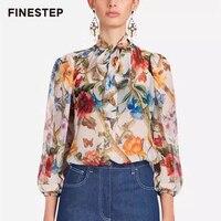 Роскошная шелковая блузка с цветочным принтом блузка рубашка для Для женщин лучших брендов Для женщин блузки реального Slk блузка