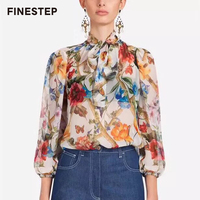 Luxury Silk Blouse Flowers Printed Blouse Shirt for Women Top Brands Women Blouses Real Slk Blouse