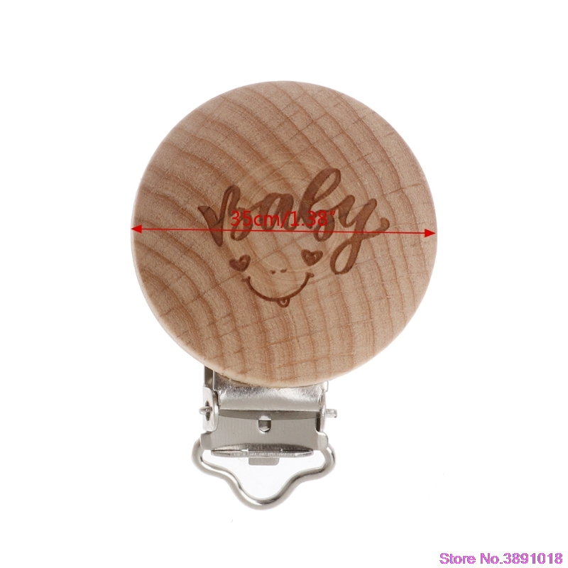 New Natural Wood Baby Pacifier Clip Engraved Wooden Pacifier Holder Soother Clasps