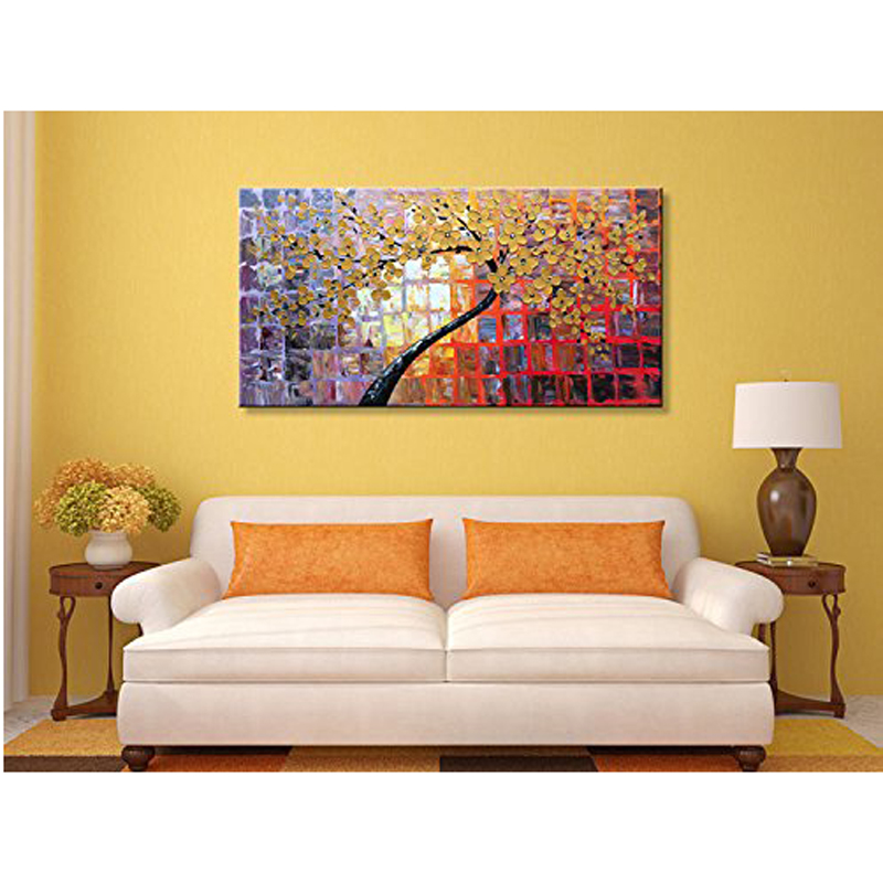 Hand Painted Large Abstract Painting Canvas Wall Art Flowers 1 Piece ...