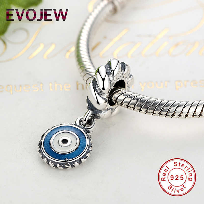 585ef589d ... Fashion 925 Sterling Silver Blue Eye Dangle Charm Beads Fit Original Pandora  Bracelet Necklace Pendant DIY ...
