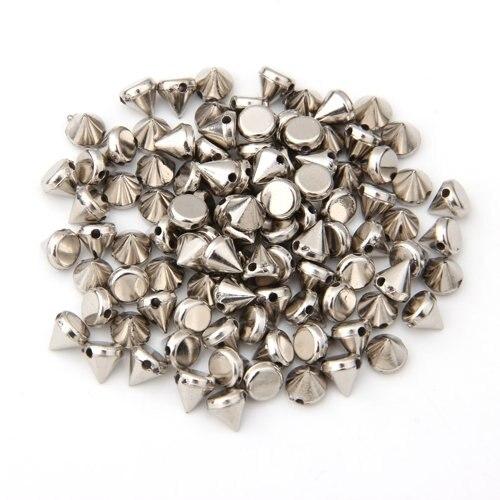 100x Plastica Abs Rivetti Spikes Argento Per Abbigliamento Borsa