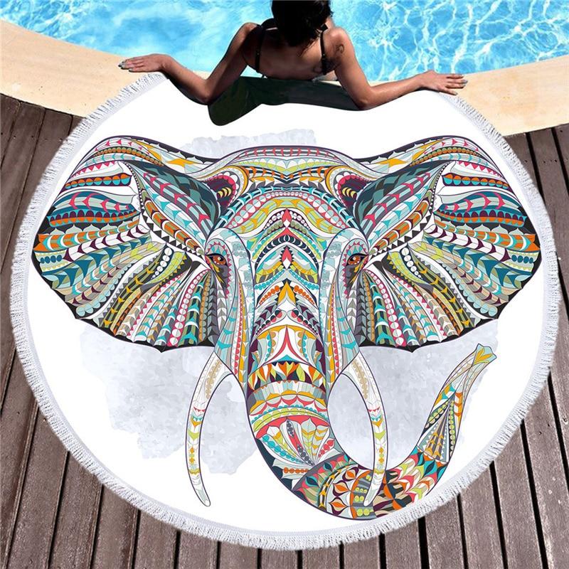 Microfibra Estate Elephant 150 cm Rotonda Telo da mare con Nappa per Adulti Stuoie di Yoga Asciugamani Da Bagno Arazzo Suncreen Spiaggia Copertura