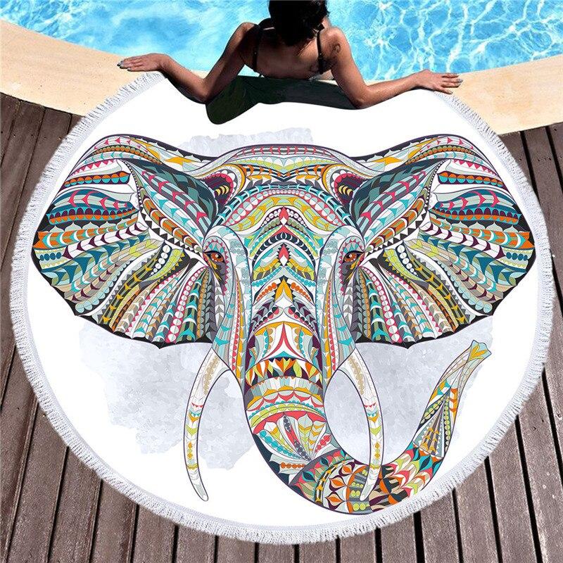 Microfibre Éléphant D'été 150 cm Rond Serviette De Plage avec Gland pour Adultes Tapis De Yoga Serviettes De Bain Tapisserie Suncreen Plage Cover