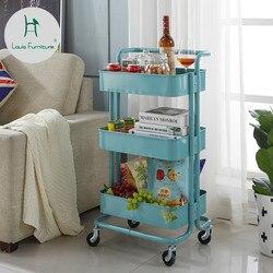 لويس موضة المطبخ جزر عربات بكرة المحمول تخزين الرف غرفة المعيشة المطبخ الحمام الطابق رفوف التخزين