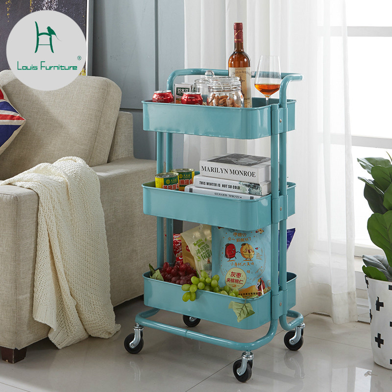 Louis Fashion Kitchen Islands Trolleys Pulley Mobile Storage Rack Living Room Kitchen Bathroom Floor Storage Shelves
