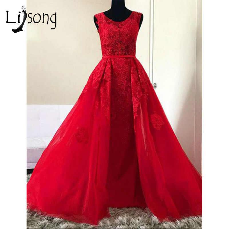 Винтаж Красные кружевные вечерние платья с более чем-юбка 2019 Элегантный  длинное кружевное платье вечерние 3ed75c807a62f