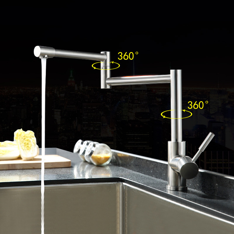 304 stainless steel lead free folding kitchen faucet hienduretm fold kitchen faucet extension hot and cold