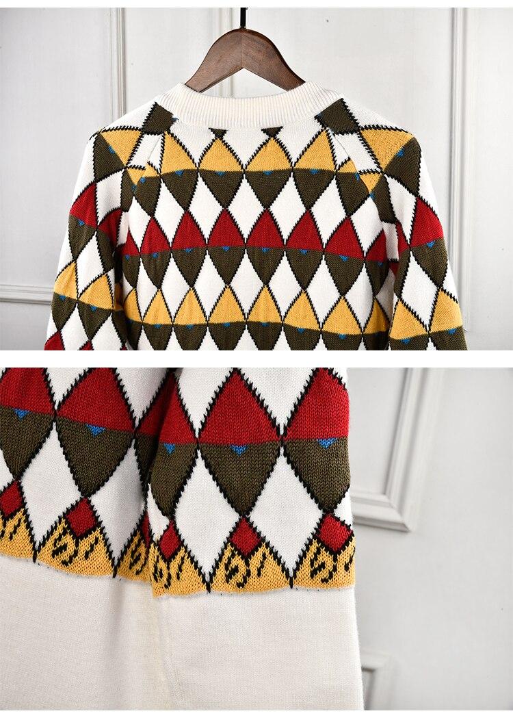 Marque de luxe chandail tricoté pour les femmes Vintage col en V diamant treillis couleur correspondant Cardigans tricotés Beige - 6