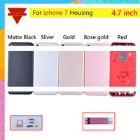 10pcs/lot Original Quality New Metal Battery Cover Door Housing For Apple Iphone 7 7G Chassis Middle Frame With Sim Tray Buttons