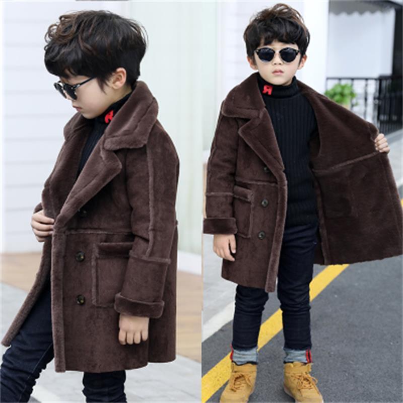 New Fashion lattice high quality Children Woolen Coat for Boys Hot Autumn Winter Fashion Buttons Kids Clothes Woolen coat