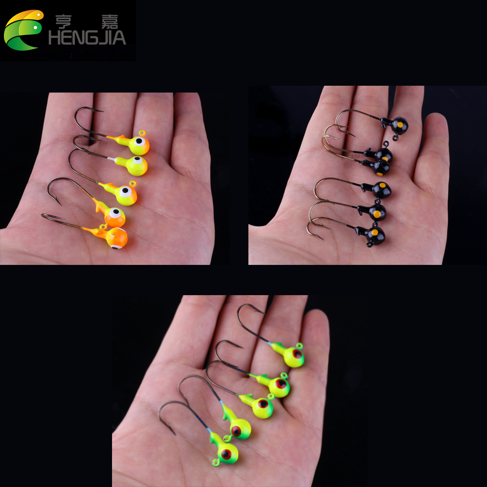 HENGJIA 5pcs 3.5g Round Lead Head Barbed Single Hooks Bass Hard Metal Jigs Fishing Tackles Lures