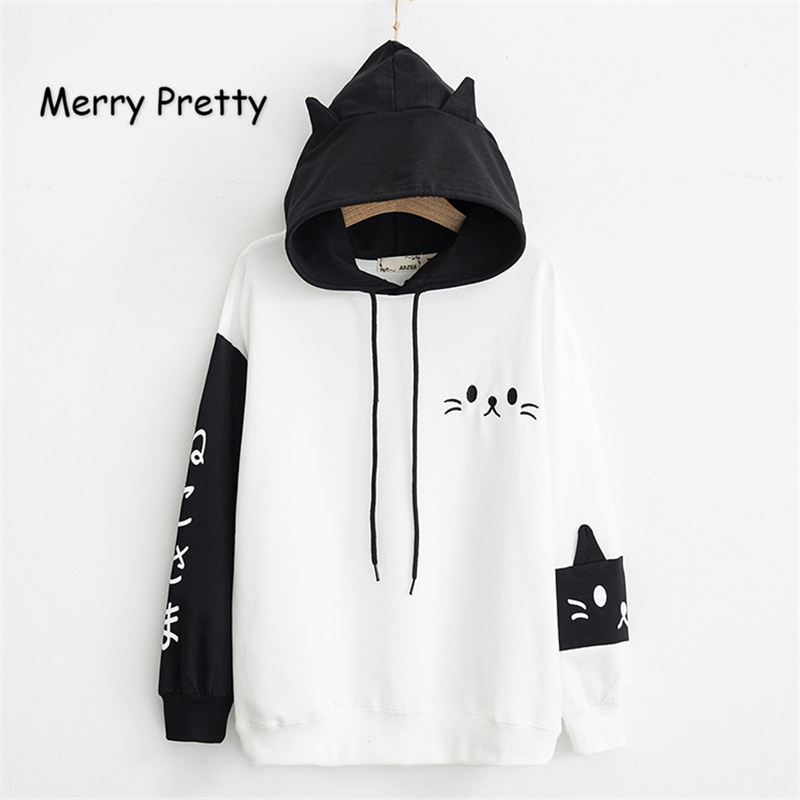 MERRY PRETTY Women Hooded Sweatshirts Fall Winter Long Sleeve Hit Color Pullover Femme Cartoon Cat Embroidery Harajuku Hoodies