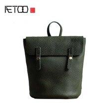 Aetoo 2017 натуральная кожа рюкзак женщины сумка простой Корова кожа старинные рюкзаки женский рюкзак зеленый Повседневная сумка