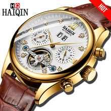 HAIQIN Brand Automatic Mechanical MenWatch Bussiness Watch men Tourbillon Waterproof Male Wrist watch Simple Leather Chronograph