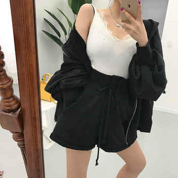 Women Autumn Cotton Solid 2two Piece Set Outfits Female Hooded Zipper Puff Sleeve Long Sweatshirts with Wide Leg Short Pants 3