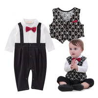 Baby Boy Clothes Newborn Baby Gentleman Long Sleeve Rompers with Bow Tie + Waistcoat Toddler Boys Jumpsuit Infantil romper 3-24M