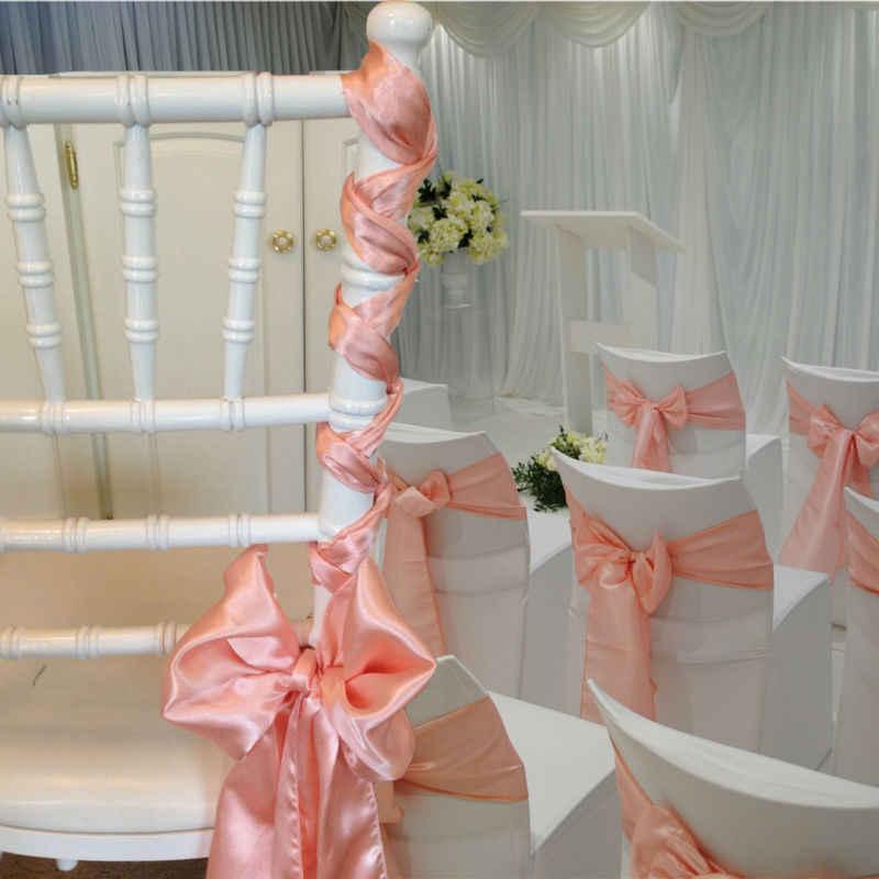 저렴한 25 개/몫 15*275cm 새틴 보우 타이 의자 새시 밴드 레드/블랙/핑크 멀티 컬러 호텔 연회 웨딩 파티 장식